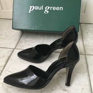 Paul Green Char Heel Black Patent Leather Pumps